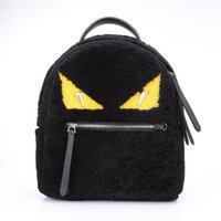 arrival eye bags - 2016 Winter New Arrival Fashion Backpackss Lambs Wool Fur Woman Hairy School Style Backpack Litter Devil Eyes lady s Street Snap Bags