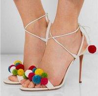 Precio de Lazo de lana-2016 NUEVA alta talones de las sandalias de pista Zapatos Mujeres de Color bolas de lana ata para arriba el tobillo atados Gladiador Sandalias Sandalias