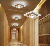 Wholesale 3 watt LED Ceiling Light Fixture Crystal Glass Ceiling Lamp for Hallway Corridor Aisle LED Lighting Square Fast Shipping