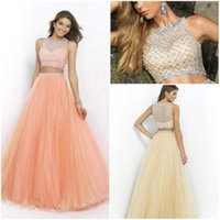 Wholesale Cheap Prom Dresses Two Pieces Tulle Beading Crystals A Line Ruched Long Formal Evening Wear Hot Sale Custom Made Prom Party Dresses