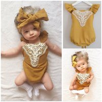 Wholesale 6M M Baby Yellow Sleeveless summer Rompers Toddler Girls Patchwork Bandage Rompers Newborn Backless Lace Up Jumpsuit