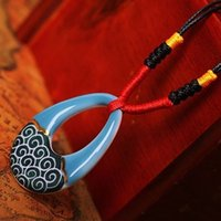 beautiful indian paintings - Beautiful Chinese Ceramic Style Blue Hollow Water Drop Shaped Glossy Hand painted Waves Pattern Necklace Original Ethnic Jewelry