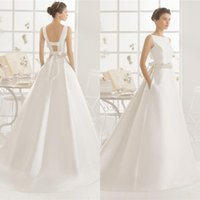 Cheap 2016 Simple New satin bateau weddings dresses sash Bows backless white country wedding dress with pocket bride ball gowns 2017 QW817