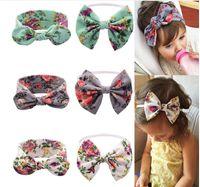 big ribbon bows - 2016 new color printing big bow girl hairband infant cotton cloth floral headband Neonatal headflower drop shipping E215