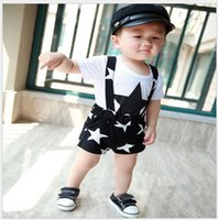 baby boy suspender shorts - 2016 Fashion Baby Boys Summer Short Sleeve Stars Printed T shirt Suspender Shorts Sets Korean Style Kids Suits Children Boy Outfits