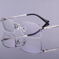 al por mayor gafas marco negro-Hombres 2016 gafas de titanio puro marco óptico medio borde de estilo de negocios montura de gafas Gafas de Grau 4 Oro Negro en color gris de plata RS956
