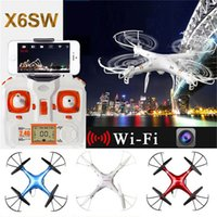 Wholesale New Camera Drones X6SW SYMA FPV WIFI RC Drone Helicopter Headless Quadcopter with HD Camera G Axis Real Time RC Helicopter Toy Free DHL
