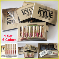 Wholesale Gold Kylie Jenner lipgloss Cosmetics Matte Lipstick Lip gloss collection lipsticks Mini Leo Kit Lip Birthday Limited Edition Colors set