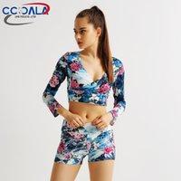 best yoga clothing - 2016 Best selling high quality printing long sleeved blazer half wild halter V neck T shirt women jogging yoga clothes sports garments