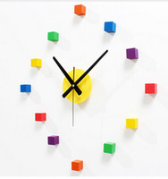 Wholesale Original muted colorful brief stickers wall clock creative DIY bedroom living room wall sticker clock watch cute home decoration