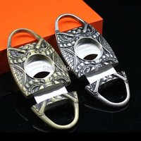 Wholesale COHIBA Quality Snake Face Pocket Antique Copper Stainless Steel Double Blade Cuban Cigar Scissors Cigar Cutter Luxury Gift Box