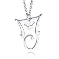 bad silver - 2016 Michael Jackson Necklace Silver Plated Pendant MJ King Of Pop Thriller Moonwalker MJ Bad logo Jewelry zj