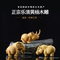 Wholesale pieces boxwood sculpture African animal small home decoration rhino hippopotami elephant decoration crafts gift wood carving