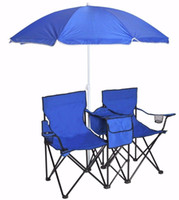 beach umbrella table - Table Cooler Pinic Camping Beach Chair Portable Folding Double Chair Umbrella