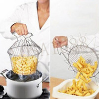 Wholesale Sale Foldable Steam Rinse Strain Deep Fry Chef Basket Magic Basket Mesh Basket Strainer Net Kitchen Cooking Tool
