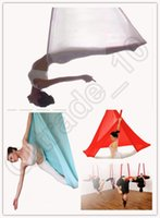 Wholesale Yoga Hanging Hammock Anti Gravity yoga swing colors Fitness Exercise Gym Yoga belt with resilience m wide LJJO86