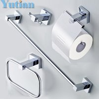 Wholesale Stainless Steel Bathroom Accessories Set Robe hook Paper Holder Towel Bar Towel ring bathroom sets YT A