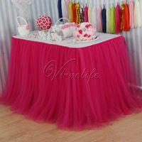 Wholesale 100cm x cm Fuchsia Tulle Tutu Table Skirt Tulle Table Skirting Tableware Wedding Birthday Baby Shower Chrismas Party Table Decoration