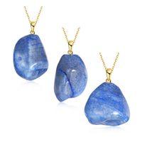 agates of lake - Fashionable elegance of lake blue natural stone necklace pendant