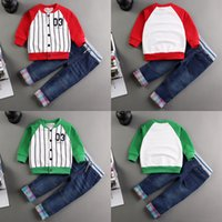 baby boy jean jacket - 2016 Toddlers baby boy set gentleman Jackets Jean suit Birthday party clothing baseball set spring autumn period new style Set