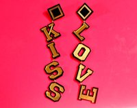 big kiss - Big Long Gold Acrylic Letter Kiss Love Earrings Female Fashion Club Hip Hop Jewelry Accessories