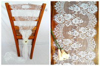 asia homes - 36 cm Jacquard Lace Wedding Chair Sashes Back Covers Bows Table Runners Home Garden Decor New Classic Europe Party Event Decoration