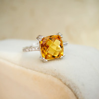 Cheap Luxurious 925 silver engagement ring Emerald Cut natural 1.2ct brilliant citrine wedding ring 925 Solid Sterling Silver jewelry