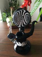 Mini-tubes barboteurs France-EN STOCK blanc et mini tube de verre en verre noir barboteur fumer eau poignée de tuyau en verre bong livraison gratuite