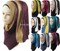 Wholesale pieces jersey scarf hijabs and muslim shawls two tone hijab rhinestone jersey scarves can choose colors JLS101
