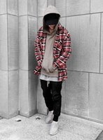 Wholesale NEW justin bieber FEAR OF GOD flannel Scotland grid long sleeve shirts Hiphop extended curved hem oversized Men Cotton shirt