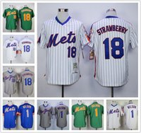 Wholesale Men New York Mets Mookie Wilsons Darryl Strawberry Jersey White Blue Green Gray NY Mets Throwback Baseball Jerseys