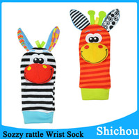 Wholesale New Sozzy Rattles Baby Toy donkey Zebra Wrist Rattle and Socks toys Lamaze Style Baby Wrisr Rattle