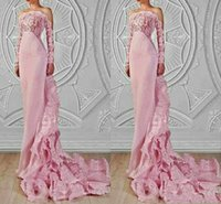 Wholesale Custom Made Pink Mermaid Lace Evening Dresses With Sleeves Chapel train Satin Sheer Design Formal Women Gowns Long Prom Dresses