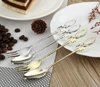 Wholesale Korean Stainless Steel Diamond Bow Tableware Set Spoon and Fork Cutlery Set for Dinner Tea Time Kitchen Tools