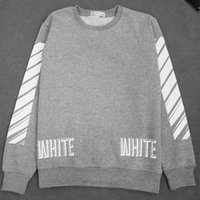 Wholesale Justin Bieber Off White Gray Stripe Pullover Long Sleeve Sweatshirt Mens Virgil Hoodies Sportswear Autumn Winter