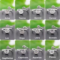 Wholesale Sterling Silver Rings Statement Jewelry Women Lady Fashion Party Jewelry Wedding Pure Silver Open Hoop Twelve Constellations Ring