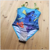 Wholesale 2016 New Finding Nemo Dory Baby Kids Swimsuit One Pieces Baby Girls Cartoon Printed Bathing Clothes Dory Ruffle Dress Children Swimming Wear