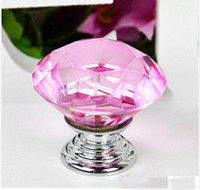 Wholesale 5Pcs mm Diamond Crystal Shape Glass Cupboard Wardrobe Cabinet Door Drawer Knobs Pull HandleS Pink TK0978