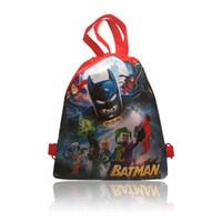 batman drawstring backpack - New Hot Style Popular Party Bags Batmen Supermen Cartoon School Drawstring Backpack cm Kids Best Gift High Quality