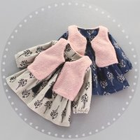 adorable kids clothes - Adorable Girls Outfits Autumn Winter New Children Kids Clothing Infant Girl Baby Thicken Branch Dress Waistcoat Clothing Sets