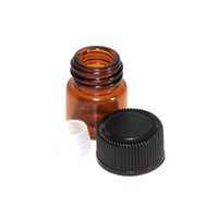 Wholesale 100pcs ml dram Glass Essential Oil Bottle Amber perfume sample tubes Bottle with Orifice Reducer Black Plastic Cap dram