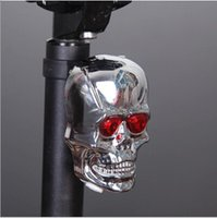 Wholesale icycle Accessories Bicycle Lights Bicycle Light Bike Rear Tail Laser Security Light Waterproof Skull Skeleton Luz Traseras Bici bicycle r