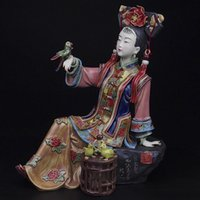 antique lady doll - Antique Chinese Lady Statue Figure Real Ceramic Figurine Handmade Figure Craft Collectible Painted Porcelain Sculpture Shiwan dolls
