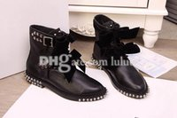 designer sheepskin boots - Short Motorcycle boots new arrive boots ankle boots heel Rivets fashion Rock roll style leisure women ankle designer brand Rivet Ankle Boots