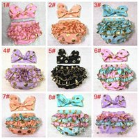 Wholesale girls gold polka dot shorts baby bloomers headbands set childrens ruffled shorts kids cotton underwear girl boutique diaper covers