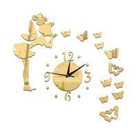 angels decorative arts - Living Room Decorative Wall Sticker Clock DIY Acrylic Mirror Wall Clock Butterfly Angel Shape Creative Gift Art Watch