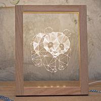 Wholesale Northern Europe Creative Gifts Panda Night Light Birthday Present Solid Wood Photo Frame Table Lamp Night Lights