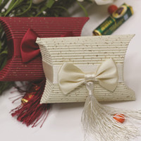 Wholesale European Wedding Champagne amp Red Pillow Box Set of Paper Corrugated Favor Boxes with Bow tie amp Tassels