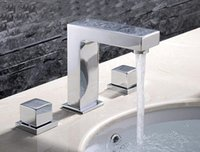 Wholesale Design Solid Copper Square Metal Widespread Lavatory Dual Lever Basin Wash Hole Bath Bathroom Faucets BF698
