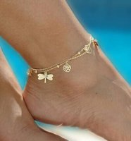 Wholesale 100PCS High Quality Sexy Double Chian Gold Anklet Delicate Anklet Summer Barefoot Jewelry For Women